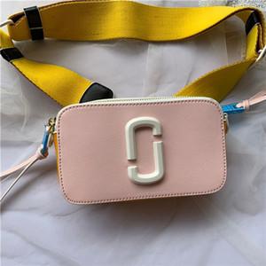 2020 Premium-Markenschulterbeutel der Frauen bunte zweireihig Band breiter Schulter Reißverschluss mini quadratische Tasche mobile Brieftasche Umhängetasche