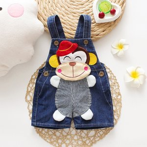 DIIMUU New Fashion Baby Boys Girls Cartoons Overalls Toddler Kids Clothing Casual Cute Shorts Pants Pants Baby & Kids Clothing Denim Pants F