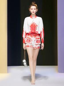 nuevo temperamento del collar del vestido de la linterna de la mujer de manga larga camisa de la cintura corta de impresión traje de 2020 vestido de verano Mingyuan