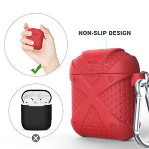 Pour AirPod Etui en silicone avec crochet Housse de protection manches solide Couleur Housse pour Iphone Bluetooth casque sans fil écouteurs de cas