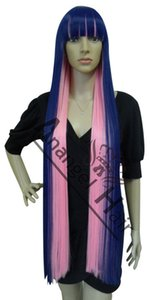Dettagli su Stocking Anarchy Cosplay Parrucchino Garterbelt Parrucche Lunghe Blue Pink Capelli sintetici