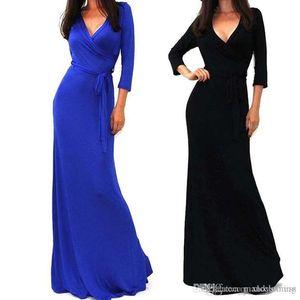 2018 Повседневный богемское Maxi платье для женщин длинным рукавом Элегантный Шумера платье с карманами Sexy Party Глубокий V дамы платье плюс размер