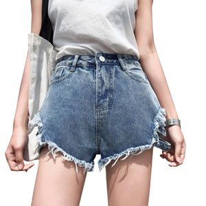 2018 Solid Women Clothing Denim Shorts With Pockets New Arrival Harajuku Summer Short Pants Plus Size Loose Holes Jeans L0114 T200603