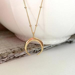 Dichiarazione d'oro Corno Collana, maxi lungo Crescent Moon, collana Corno doppio per i monili delle donne Charm
