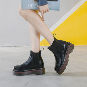 plataforma de tacón alto negro botas de las mujeres zapatos de invierno tobillo mujer de cuero genuino zapatos de mujer de costura botte femme TSDFC