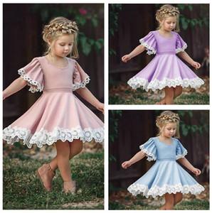 Vestiti del bambino Ragazze Abiti bambini Lace spettacolo Abiti Estate principessa danza pieghe Dresse bambino Tutu A-Line Dress Fashion Boutique D67