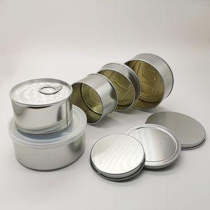 Las latas vacías en seco flor de la hierba de estaño Pre Sellado Sellado cubierta de la tapa Presionado Cap etiqueta inferior personalizado pegatinas por encargo Olor de la caja a prueba de alimentos secos