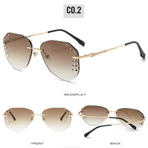 Aviator Diamond Gradient frameless sunglasses Fashion Women Rimless Sunglasses with Diamond Decoration Accessories on Gradient Tinted LXkob