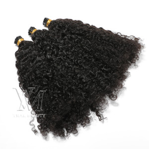 Pérou Mongulian I Tip Double Drawn Afro Kinky Curly 100 Brins Pre Bonded Memory Stick I Conseil Kératine Fusion Remy Virgin Extension de cheveux humains