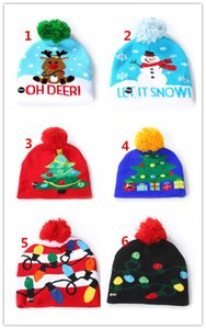 2019 Christmas Halloween LED Lamp Cap Parent Adult Children's Knitted Hat LED Glow Hat Colorful Lights with Ball