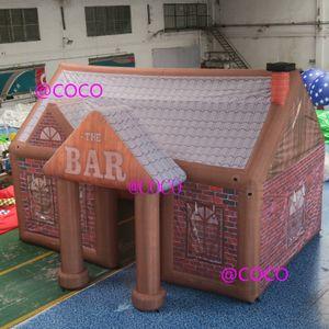 Надувной паб 6x4.5m, гигантский открытый оксфорд надувной раздувной бар, надувная барная палатка вечеринка