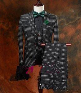 Новый горячий продавать черный горошек жених смокинги человек блейзер Пром ужин деловые костюмы (куртка + брюки+галстук-бабочка) XF213