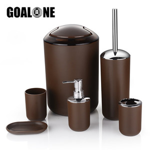 GOALONE 6Pcs / Set Роскошные аксессуары для ванной комнаты Пластиковые держатель зубной щетки чашки мыла тарелки держатель для туалетной щетки Trash Can Set Y200407