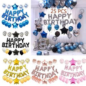 25 Pcs Balões Em Total Feliz Aniversário Cartas Estrela Do Coração Confete e Folha De Alumínio Balões De Festa De Látex Set Birthday Party Decor Suprimentos