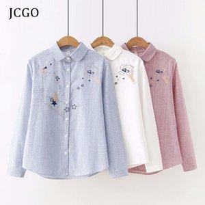 JCGO la blusa para mujer Tops 2020 camisa de algodón de primavera Nueva Embroideredy Estrellas manga larga a rayas femenino de la talla blusas blancas