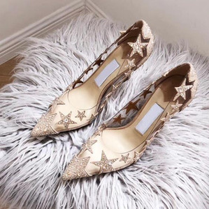Hot Sell Clear PVC Rhinestone Star Pointy Pumps Transparent Crystal Shoes Designer Pumps Bridal Shoes