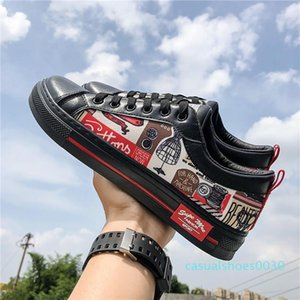 Men Hip Pop Board Shoes Rugged Casual Faux Leather Doodle Skater Shoes Fashion FU Skate Sneakers Back To School Teen GRAFFITI Plimsolls c30