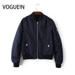 VOGUE! N nouvelles femmes dames poches 10 solides couleurs Zip Up Satin Bomber Flight Jacket Coat V191022
