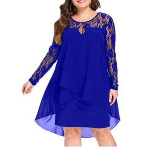 Donne Plus Size Chiffon Abiti Donna New Fashion chiffon sovrapposizione a tre quarti manica cucitura irregolare Hem Lace Dress