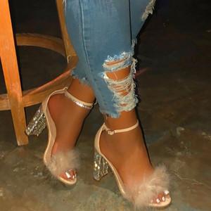 Zapatos de moda 2020 zapatos de boda con punta abierta y TACON Cuadrado ostentosos de piel para mujer, zapatos bonitos con correa en la