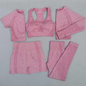 5 pcs mulheres vital sem costura yoga set workout esporte desgaste wear vestuário de ginásio curto / longo manga de manga superior alta cintura cangings terno esportivo