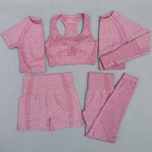 5pcs Mulheres Seamless Vital Set Yoga Workout Esporte ginásio desgaste Vestuário Curto / Long Sleeve Cortar Suit Top cintura alta Leggings Sports
