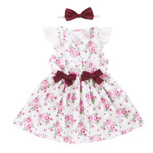 Baby Floral Princess Dress Toddler Kid Infant Girls Summer Casual Dress Lace Ruffled Prom Party + Bow Headband Outfit 2Pcs