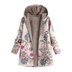 Feitong Vintage Womens Winter Warm Parkas Coat Retro Causal Outwear Floral Print Hooded Pockets Oversize Coats Outerwear Female