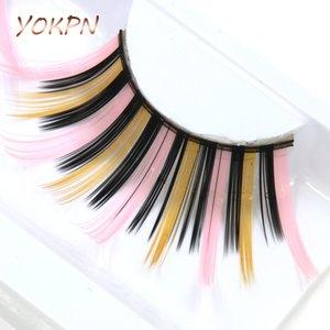 YOKPN esagerato cigli falsi spessi allungato Colore finte ciglia 100% cotone fatta a mano Gambi trucco Mostra Lashes