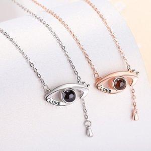 S1306 Hot Fashion Jewelry Eyes Tear Pendant Pendant Necklace 100 Languages Love You Ornaments Pendant Necklace