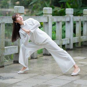 2020 Ancient Chinese Costumes Femmes Folk Kungfu Taichi pratique Zen méditation Vêtement traditionnel solide Sets Tang costume coton