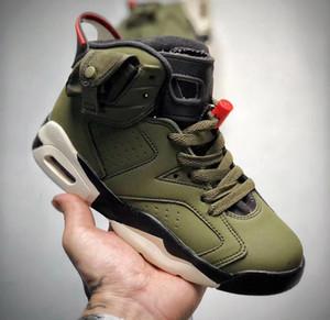 2020 Travis Scott J6 ragazzino scarpe da basket della ragazza dei bambini giovani ragazzo aria di volo di sport stivali di basket in esecuzione dimensione della scarpa da tennis 28-35