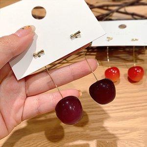 Cherizi pendientes de la cereza de frutas temperamento femenino japonés y coreano corazón versión femenina preciosas largos de resina de color rojo pendientes pendientes netos