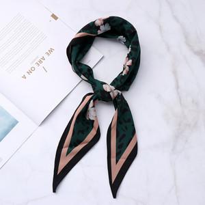 Vintage Silk Feel satin petite fleur écharpe cravate cheveux bande Mode Femmes imprimé léopard Bandana Mouchoir tête-cou usage quotidien