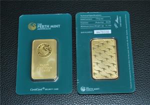 Di trasporto 10pcs / lot, australiana Perth Mint 1 oz verde placcato oro 24K Bar - Alta qualità Collezionismo Regali - Mestieri