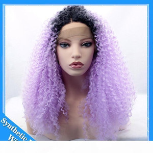 L Long Ombre Purple Kinky Curly Wigs For Black Women Cosplay Synthetic Lace Front Wig Heat Resistant Wigs Black To Light Purple Ombre H