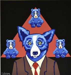 George Rodrigue Blue Dog Bears Ressemblance Home Décor Artisanats / HD huile d'impression Peinture Sur Toile Art mur toile Photos 200111