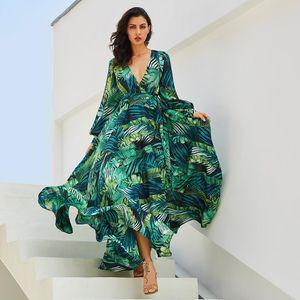 lantern sleeves expansion skirt v-neck and green leaf print dress
