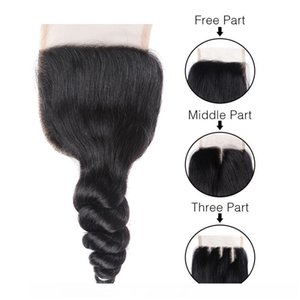 C Weaves Closure Brazilian Virgin Hair Loose Deep Wave Kinky Straight 4x4 Lace Closure Human Hair Natural Color 3 Middle Free Part Hand