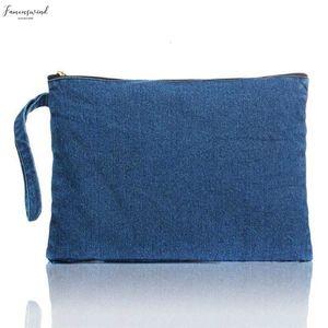 New 2020 Women Canvas Clutch Bag Blue Denim Womens Clutches Bolsa Feminina Wristlets Lady Casual Handbag Wallets Blue