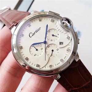 Orologi Pelletteria Cronografo di lavoro di alta qualità di marca di lusso del Mens per l'uomo di moda fibbia pieghevole multifunzionale orologi al quarzo abito