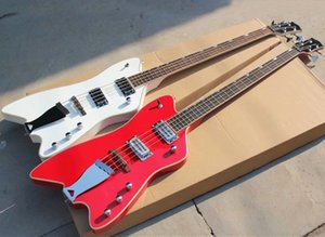 4 Strings White Red Electric Bass with Iron Tailpiece,Rosewood Fingerboard,White Binding,Can be Customized As Requested