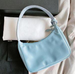 2020 Senhora sacos de ombro bolsa de moda Baguette Nylon Senhora de alta qualidade nas axilas saco com Box