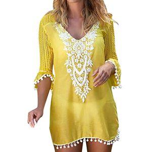 2019 Summer Swimwear Lace Patchwork Hollow Dress Women Pom Trim Tassel Cover Up Beach Wear Saida De Praia Pareos MX200327