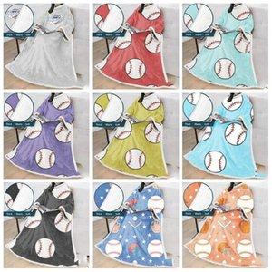 Wearable manica coperta in pile calda coperta morbida pigro Robe mantello con la stampa di palla maniche accoglienti sport Sleeping Coperte LXL1055-1