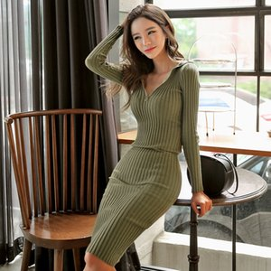 Pop2019 Self-cultivation Dress Anzug-Kleid Half Open Lead Langarm Rock Auch Hut Sexy Longuette