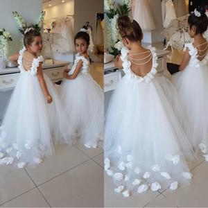 2019 New White Flower Girls Vestidos Colher Ruffles Lace Tulle Pérolas Backless Princesa Crianças Vestidos de Festa de Aniversário de Casamento BA9835