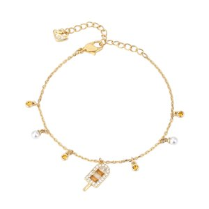 New Summer Gold Ice Cream Bracelet Crystal Decoration Alloy Charms Bracelet for Women Jewelry Gifts