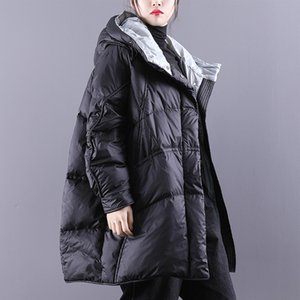 Brasão Janveny Inverno de Down Mulheres Puffy Jacket solto Thicken Quente 90% Pato Branco Down Jacket Brasão Feminino Parkas Inverno Fluffy