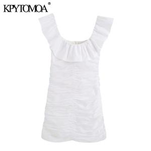 KPYTOMOA Women 2020 Chic Fashion Ruffled Draped Mini Dress Vintage Square Collar Sleeveless Back Zipper Female Dresses Vestidos